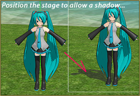 Position your stage to allow MMD to cast your ground shadows.