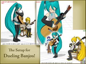 """Click to see FULL SIZE my original model setup for my """"Dueling Banjos""""."""