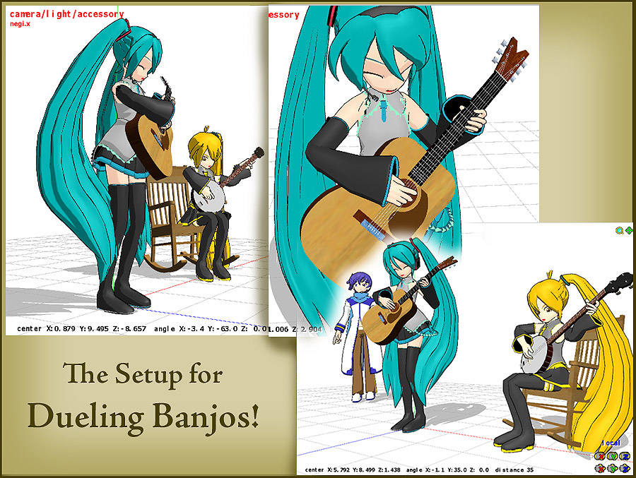 "Click to see FULL SIZE my original model setup for my ""Dueling Banjos""."