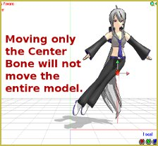 Moving the Center without moving the Leg IK bones leaves the feet behind.