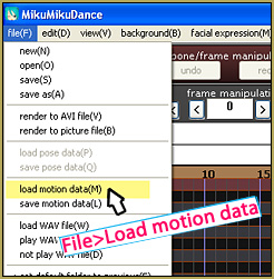 Load motion data from the FILE tab... you will load a model from the Model Manipulation area in the lower left of your screen.