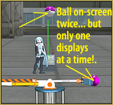Load the ball twice and use the Display checkbox to show and hide it when needed. MikuMikuDance
