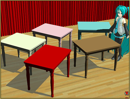 Reggie's new Painted Table Accessory will enliven any domestic scene in MikuMikuDance!