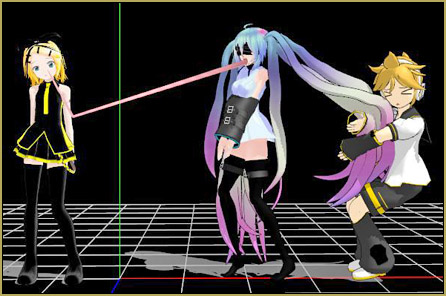 GAME Miku: I don't think pulling her hair is going to work!