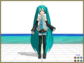Miku arrives on MMD Batokin Island ... a dance-floor on the beach!