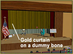 "Attach a drape to a dummy bone and use it to ""Open the Curtain!"""