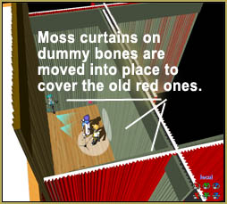 Mount your curtains to dummy bones and move them into place to cover the old red drapes.