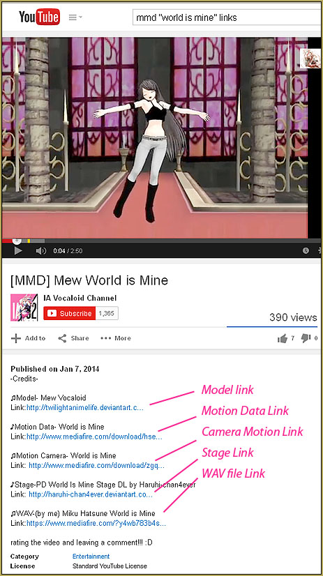 "Ia Vocaloid Channel's video has complete links for MMD ""The World is Mine"""