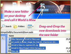 Drag the new files from the Downloads folder into your new project folder.