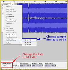 In Audacity, change the frequency rate to 44.1kHz from the project rate at the bottom left of the screen in the selection toolbar.