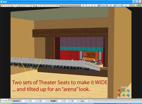 I need for these theater seats to be on a steep angle ... so I tilted 'em up!