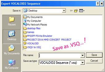 Save VSQZ to VSQ files for lip motion in MikuMikuDance.