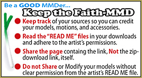 Keep the Faith-MMD reminds us to seek permission before we modify or share another artist's creation.