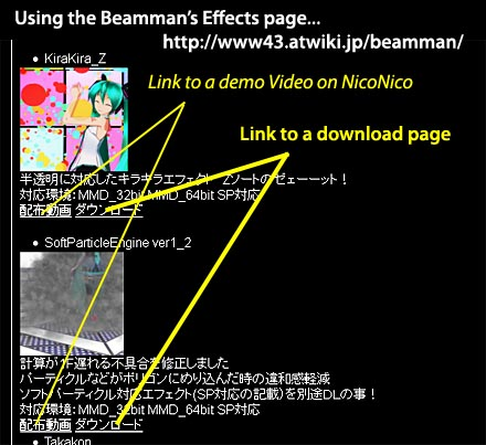 the Beamman Effects Page is a Japanese page and takes a little getting used to!