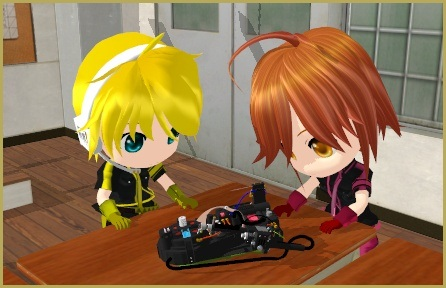 Chibi Len and Meiko just ache to dissolve this sparkle-thrower to parts