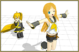 Neru is so jealous of Rin's new hair!... added using a .x model dummy to help with positioning!