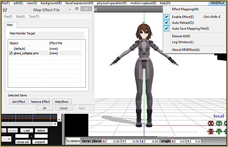 Now, in MMD, click the MME and choose Effect Mapping... and we will apply the effect to your newly-edited model.