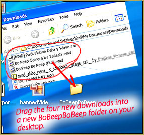 Drag the four new downloads from the Downloads folder to a new folder on your Desktop... call it BoBeepBoBeep