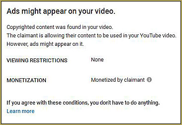 My video matched third party content and may be in violation of Copyright law.