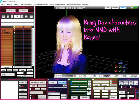 You can import Daz models into MMD with bones!