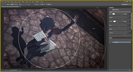 Adjust the Render>Lighting Effects in Photoshop.