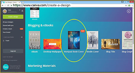 Choose the Wattpad Book Cover option on Canva.com