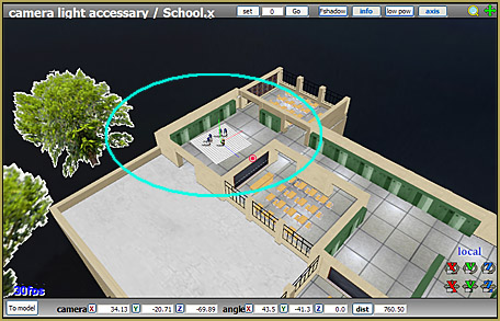 "I move the MMD Inside of School stage so as to put my ""shoot"" right where I want it."