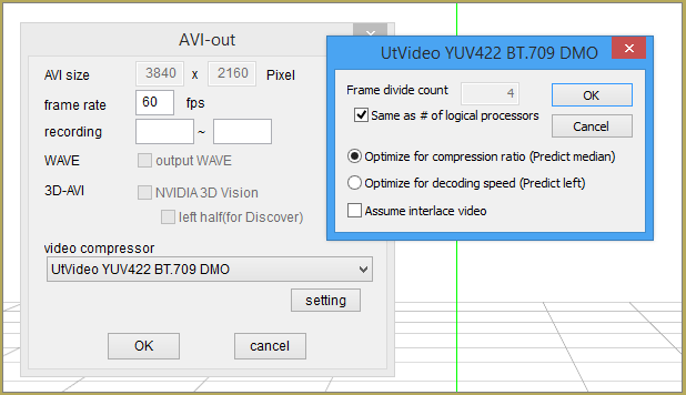 Setting-up the UtVideo codec for optimum results when rendering to AVI in MMD.