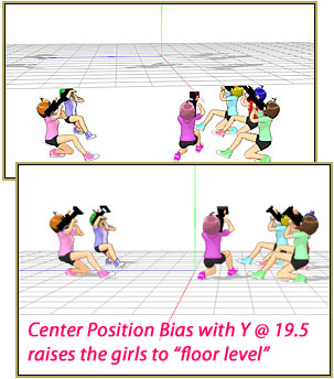 The girls are placed bellow floor-level unless you use center Position Bias to move the higher.