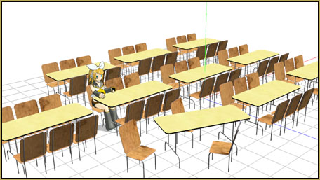 "Quickly create a cafeteria scene using a mix of ""tables and chairs"", tables, and chairs!"