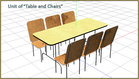 "This ""table and chairs"" loads as a single unit."
