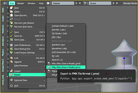 Go to FILE and hover over Export and click miku miku dance model