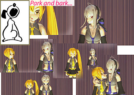 Park and Bark is a term for the performance in which the artist (or the MMD model) pretty-much stands in one place while delivering the song.