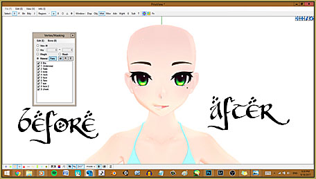 Give the model pink lips by coloring the texture image.