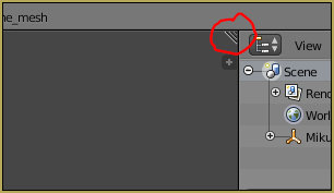 Location of triangle to split the screen in Blender.