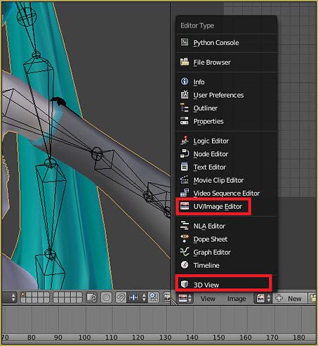 View changer dropdown menu in Blender.
