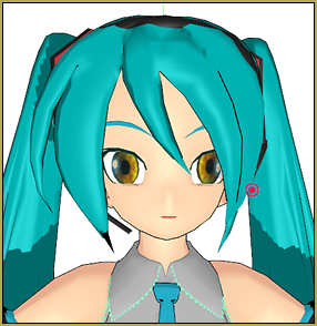 Miku with Realistic Eyes that I created using an image of my own eye using Blender.