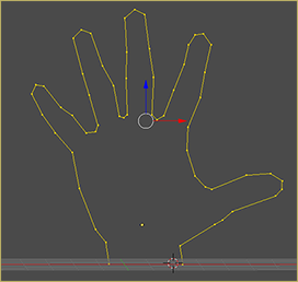 First step in making MMD model hands is to create the shape in Blender. We're going to extrude vertices to make an outline of the hand.