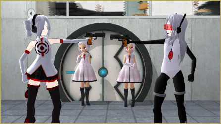 The hard choice between various Portal Turret MMD models: The-Mystery-Raccoon, UxieBunny, and xCarmle versions are presented