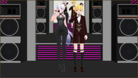 Two MMD models in fancy attire.