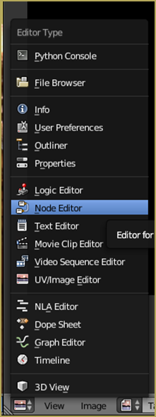 Location of Node Editor View Mode