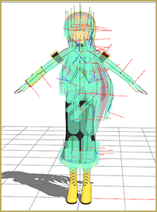 Luka model in PMXEditor with all bodies set to the same group.