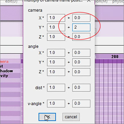"""Use """"multiply of camera frame position-angle(G)"""", under MMD's EDIT menu to adjust all of your selected camera diamonds at once."""