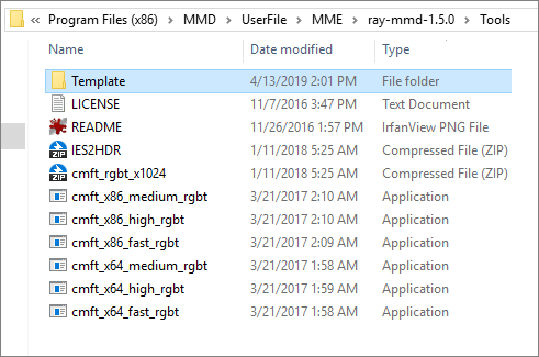 Contents of the Tools folder inside Ray-MMD... custom sky box... skybox