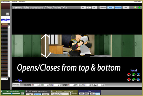 MMD MME PostAnalogTV effect gives you Top-Bottom to Center and Left-Right to center scene transitions.