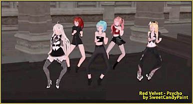 """A scene from SweetCandyPaint's """"Red velvet - Psycho"""" MMD animation."""
