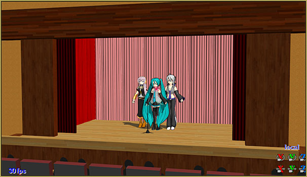 The first step of an MMD production: models and a stage.