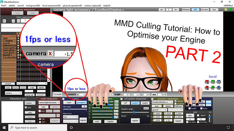 removing unseen elements from models and stages optimises computer assets for MMD.