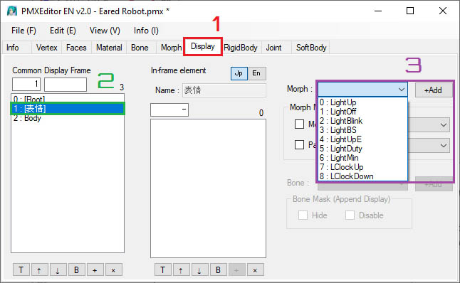 A screenshot of how to add ALMorphMaker morphs into the display tab in MMD