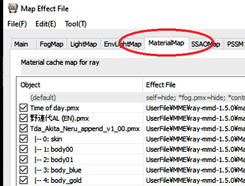 Materials tab in Ray-MMD